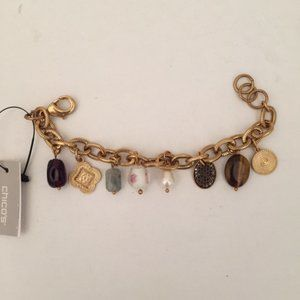 NWT Gold Charm Bracelet with Lobster Clasp
